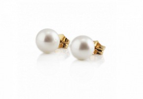 Pendientes con perla australiana, 10 mm.