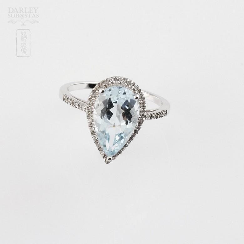 Ring Aquamarine 3.14cts in 18k White Gold