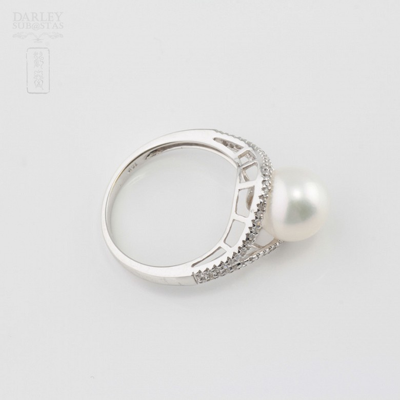 Nice ring with pearl and diamonds - 4