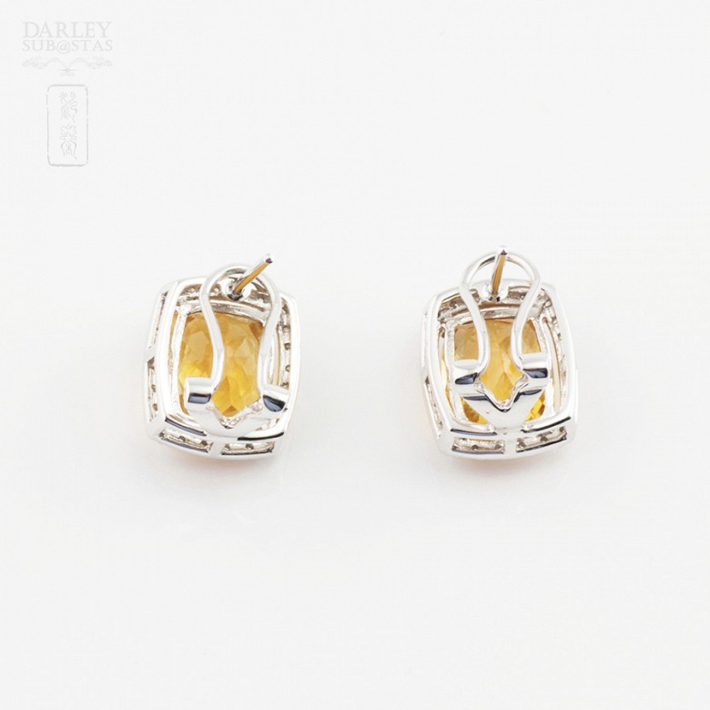 Beautiful earrings in 18k white gold with diamonds and citrine - 3