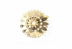 Broche en oro amarillo de 18k con perlas, ca. 1950