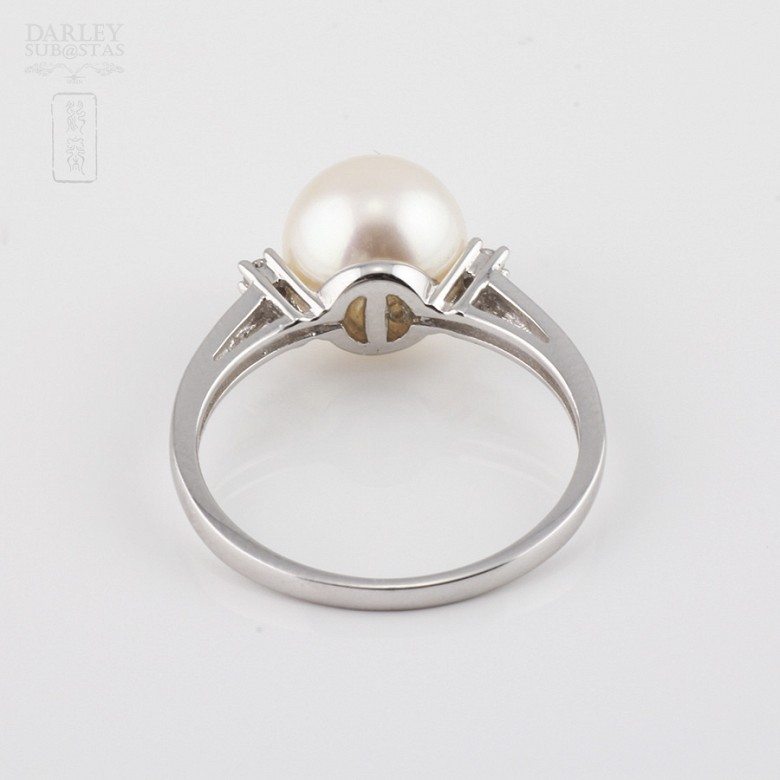Ring with natural pearl and diamond in 18k - 1