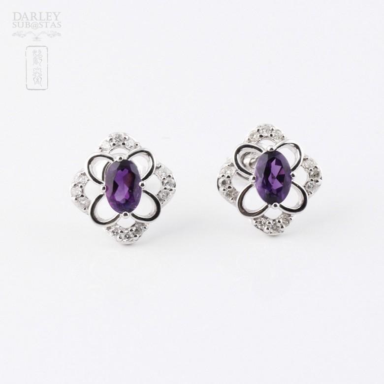 0.98克拉天然紫晶配钻石18K白金耳环 - 3