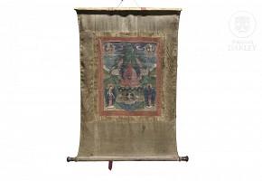 Tibetan silk thangka, 19th c.