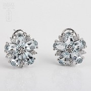 Earrings with aquamarine 4,01cts  and diamonds in white gold - 2