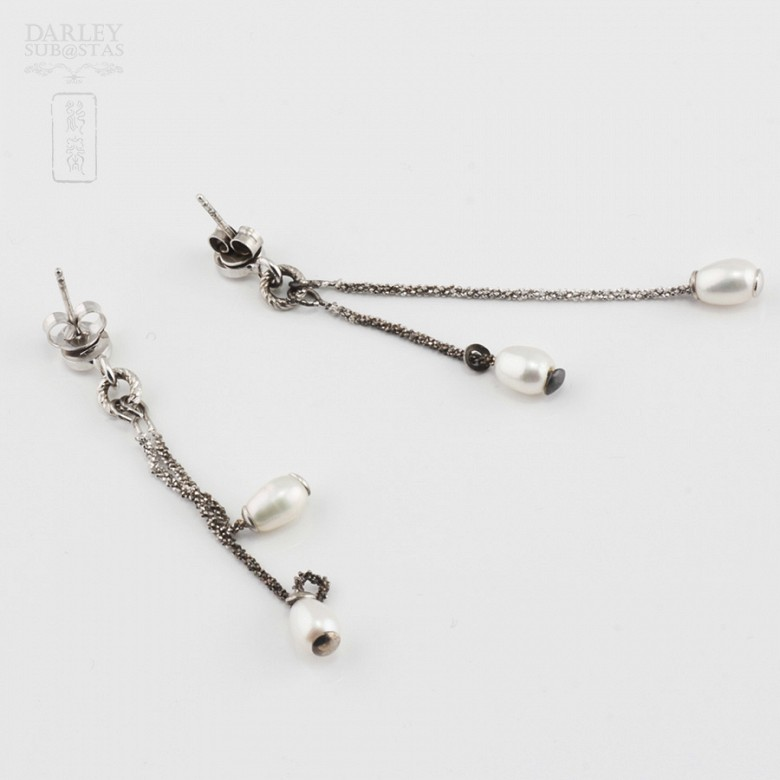 Silver earrings and pearls - 3