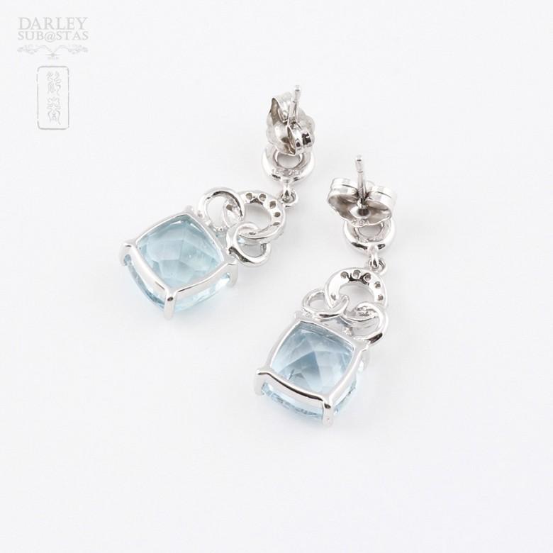 4.54克拉海蓝宝石配钻石18K白金耳环 - 2