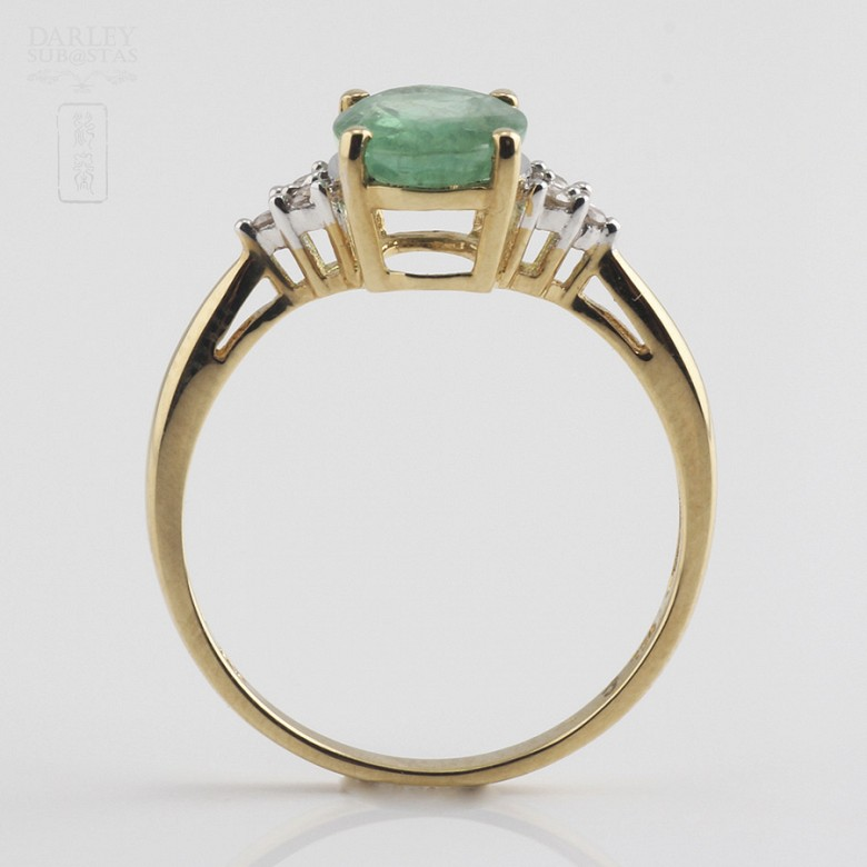 Ring emerald  1.78cts and diamond 18k yellow gold - 1