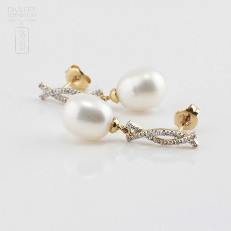 Bonitos pendientes perla y diamantes - 1