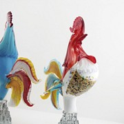 Pareja de gallos de cristal de Murano, s.XX - 5
