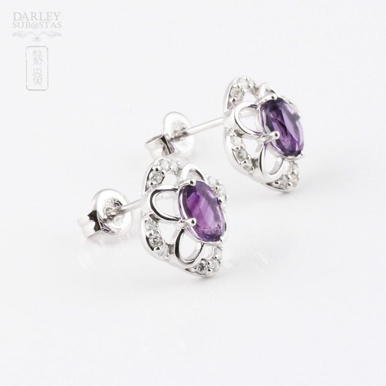 0.98克拉天然紫晶配钻石18K白金耳环 - 2