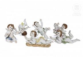 Lot of six angels of Algora, 20th century