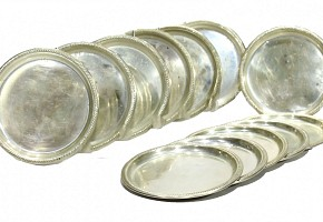 Twelve plates of silver bread, Spain, 20th century