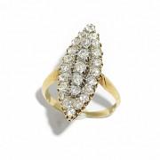 Anillo lanzadera en oro amarillo de 18k con diamantes aprox. 2,00ct en total.