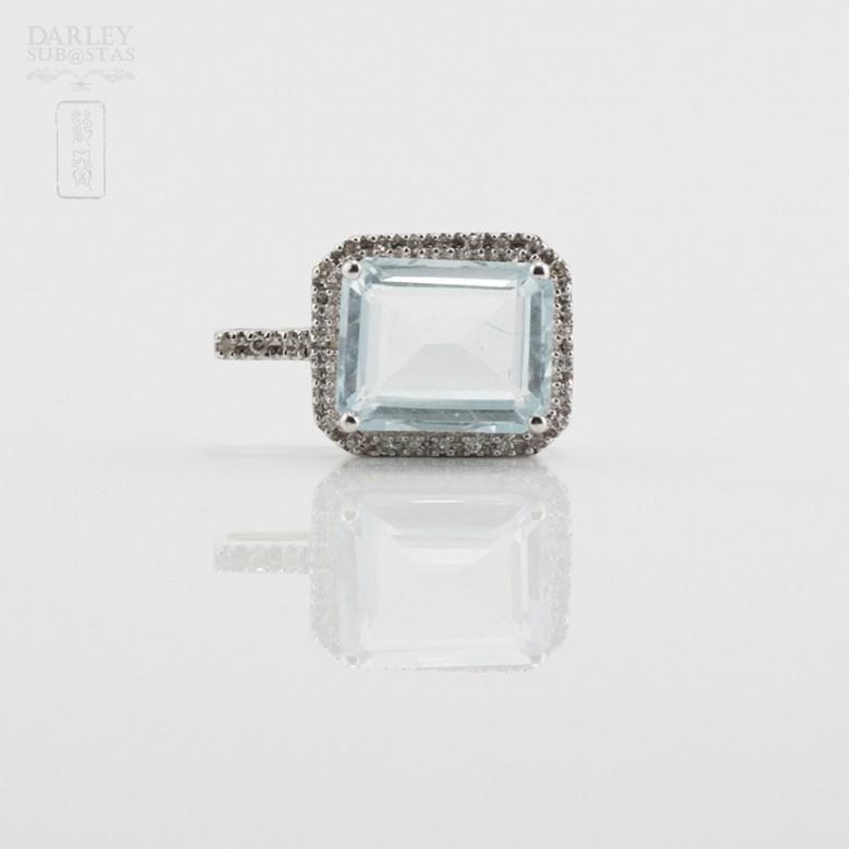 Pendant  Aquamarine2.72cts in white gold and diamonds - 1