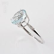 1.98克拉海蓝宝石配钻石18K白金戒指 - 2