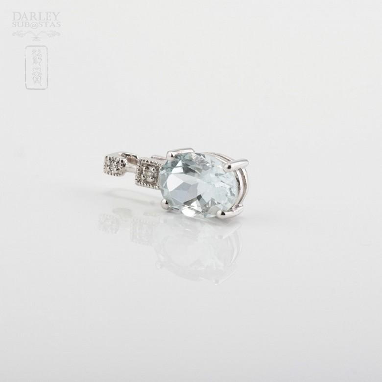 1.12克拉海蓝宝石配钻石18K白金挂坠 - 1