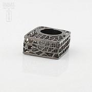 Original anillo en plata ley y rodio negro - 1
