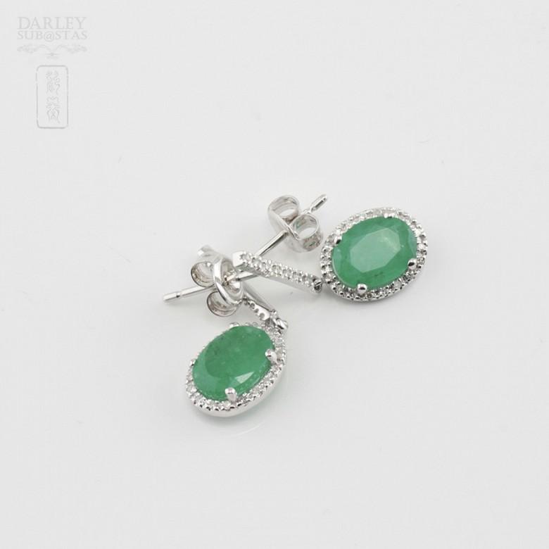 18k白金配祖母绿镶钻石耳环 - 2