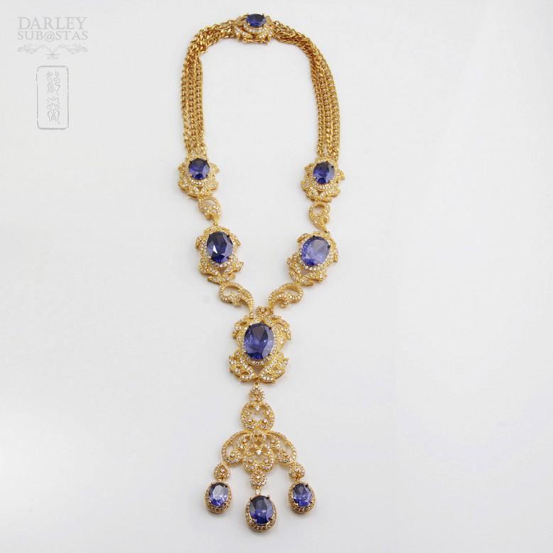 Aderezo de Fallera color azul Zafiro y dorado - 1