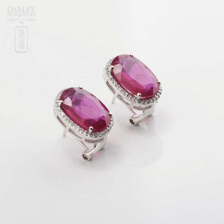 Pendientes Rubí 10.05cts y diamantes  en oro blanco - 3