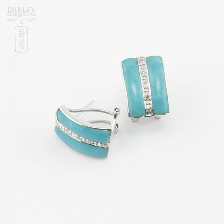 绿松石配钻石18K白金耳环 - 3