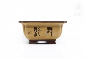 Maceta para bonsai esmaltada, Yixing, China.