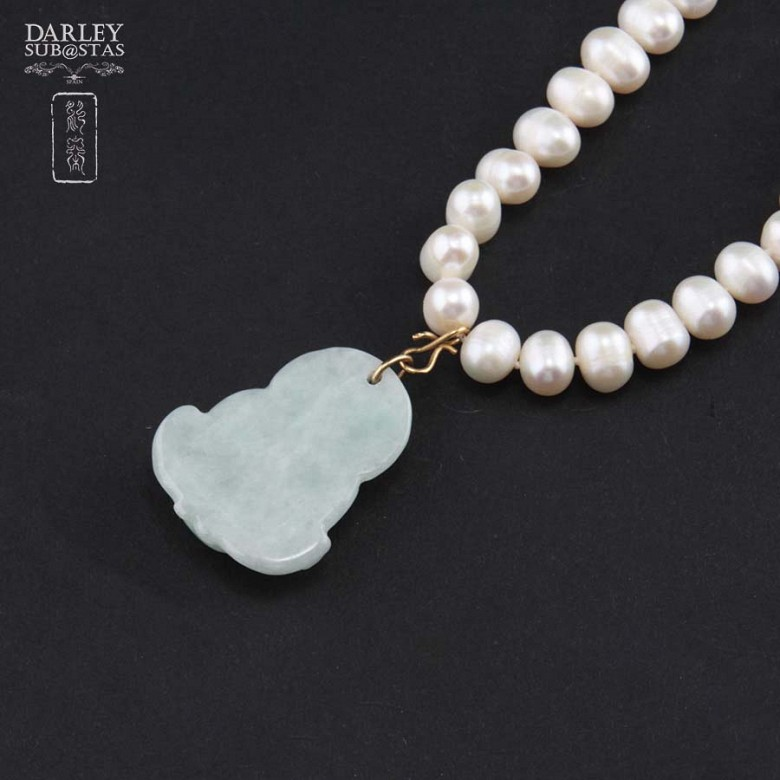 Choker pearl and jade Buddha - 3