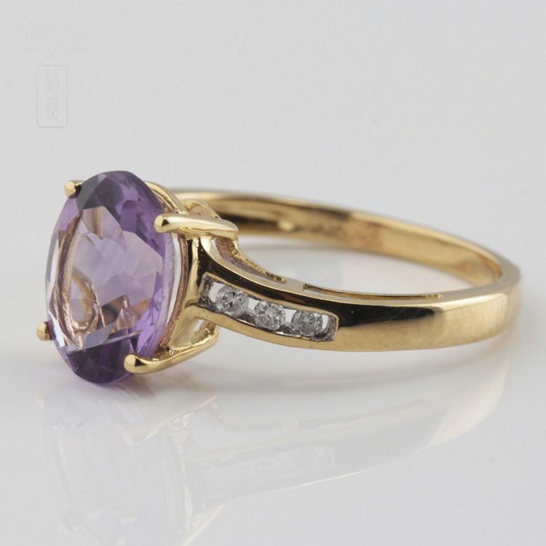 18k白金镶紫晶配钻石戒指 - 1