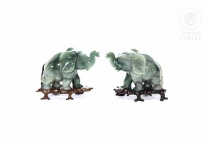 Carved elephant pair, China.