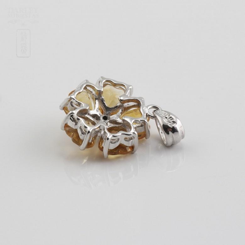 14K白金吊咀镶钻石及2.10克拉天然黄晶石 - 1