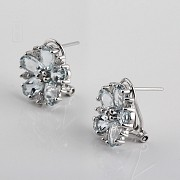Earrings with aquamarine 4,01cts  and diamonds in white gold - 1
