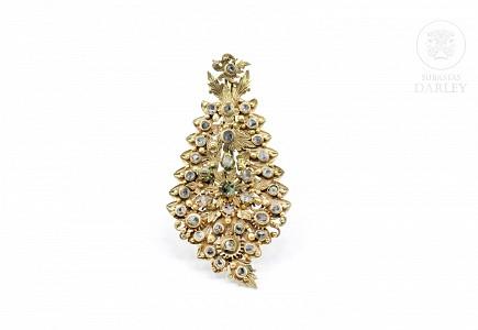 Broche de latón con diamantes de Matara (circón), Indonesia