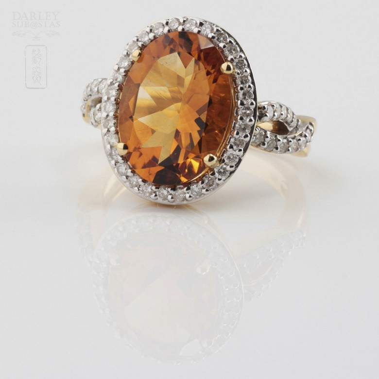 0.65cts fantastic ring with diamonds and 18k yellow gold citrine - 3