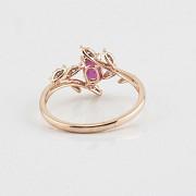 Precioso anillo en oro rosa 18k, rubí y diamantes - 2