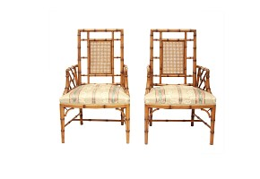 Pair of bamboo-carved wooden chairs, 20th century