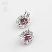 Earrings in 18k white gold with rubies and diamonds - 2
