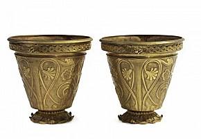Pair of golden bronze pots.