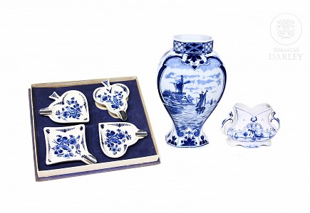 Porcelana de Delft, blanco y azul, s.XX