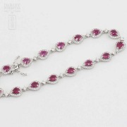 18k white gold bracelet with rubies and diamonds. - 5