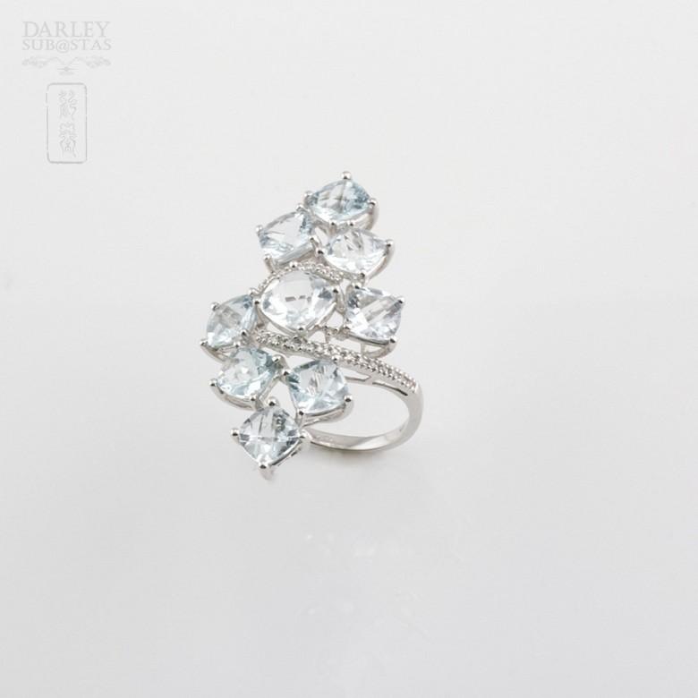 18K白金嵌7.42克拉海蓝宝石镶钻石戒指 - 2