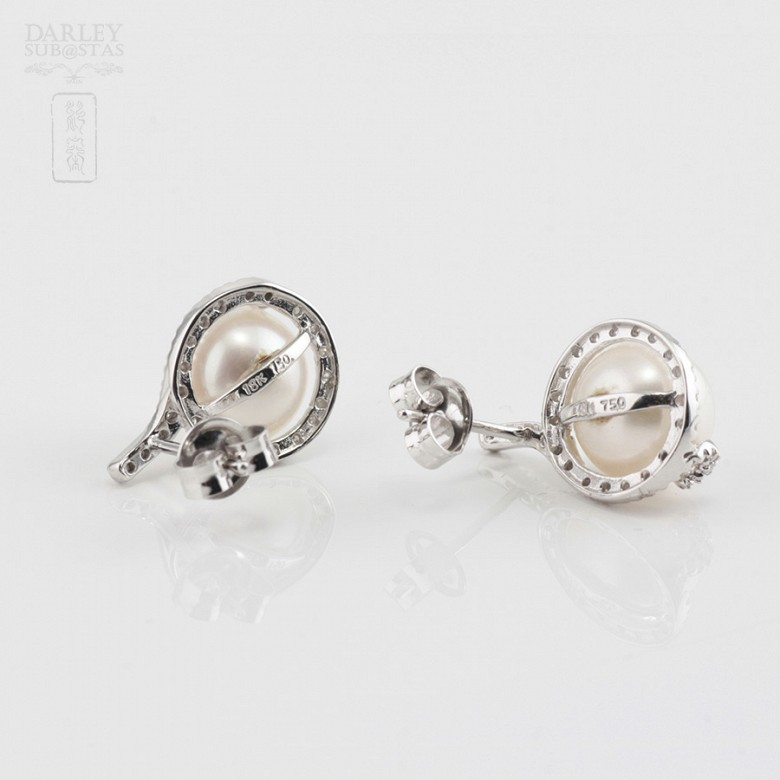 Nice earrings with pearl and diamonds - 3
