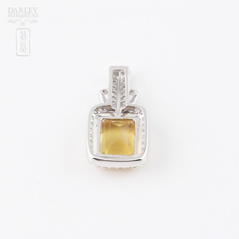 3.47克拉天然黄晶配钻石18K白金吊坠 - 1