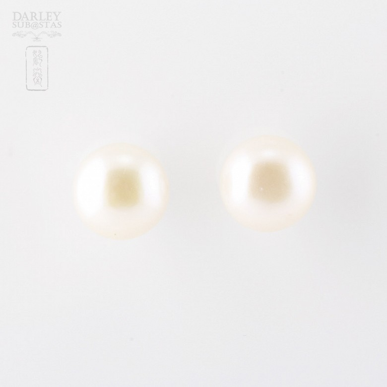 Earrings Natural Pearl in 18k White Gold - 2