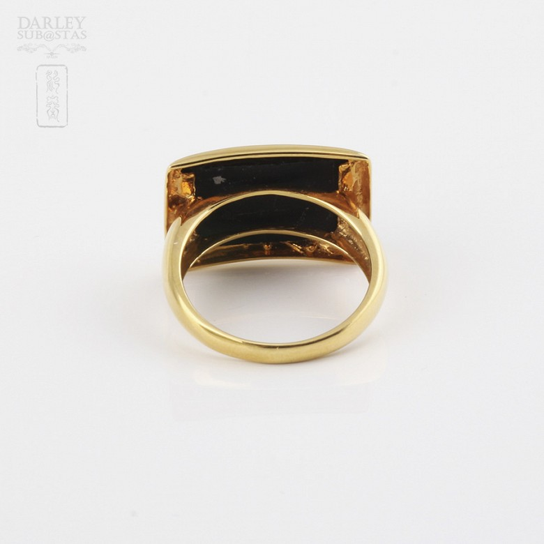 ring Natural onyx  in 18k yellow gold - 2