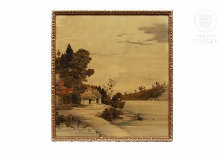 Panel de terciopelo pintado, Japón, s.XX