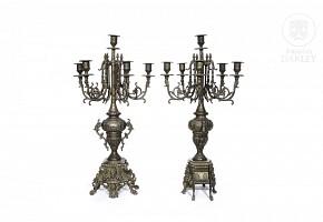 Pair of metal candlesticks, 20th century