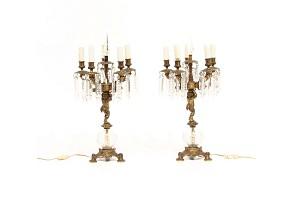 Pair of bronze table lamps, ffs.s.XIX