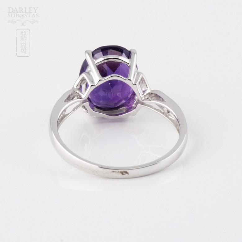 3.08克拉天然紫晶配钻石18K白金戒指 - 2