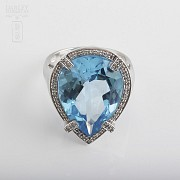 Ring with Topaz 17.27 cts and Diamonds in  White Gold - 3